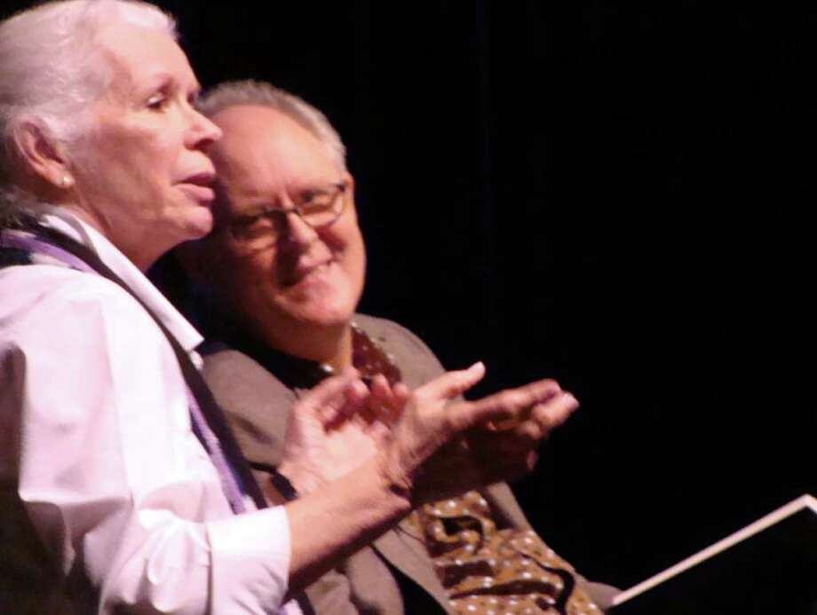 """John Lithgow and Annie Keefe, associate artistic director of the Westport Country Playhouse, discuss his new book at the Westport Public Library's Malloy Lecture in the Arts on Thursday in Bedford Middle School. Keefe, who served as moderator for the program, was the stage manager in a production of """"The Changing Room"""" at New Haven's Long Wharf Theatre in which Lithgow performed. Photo: Meg Barone / Westport News freelance"""