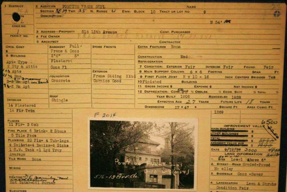 This is a portion of the property record for the Seattle apartment where President Barack Obama once lived with his mother in 1961. The property assessments were done in the late 1930s with a Depression-era grant from the Works Progress Administration. The photos and house information has been saved and is accessable to the public through the state archives. Photo: Puget Sound Regional Branch Of The Washington State Archives