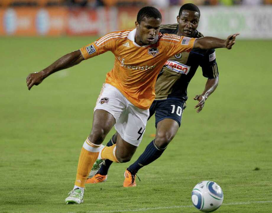 Jamaican defender Jermaine Taylor (left), who played five seasons with the Houston Dynamo between 2011 and 2015, will face the United States in the 2017 Gold Cup final Wednesday night. Photo: Thomas B. Shea, For The Houston Chronicle / Freelance