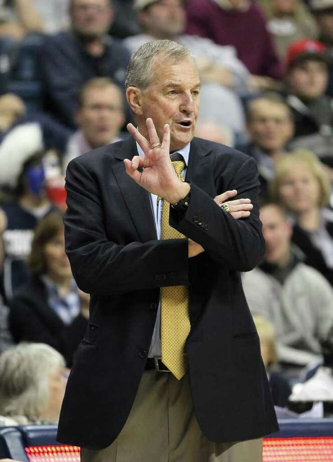STORRS, CT - NOVEMBER 11:  Jim Calhoun of the Connecticut Huskies reacts during a game against the Columbia Lions  in the first half at Harry A. Gampel Pavilion on November 11, 2011 in Storrs, Connecticut. (Photo by Jim Rogash/Getty Images) Photo: Jim Rogash/Getty Images / 2011 Getty Images