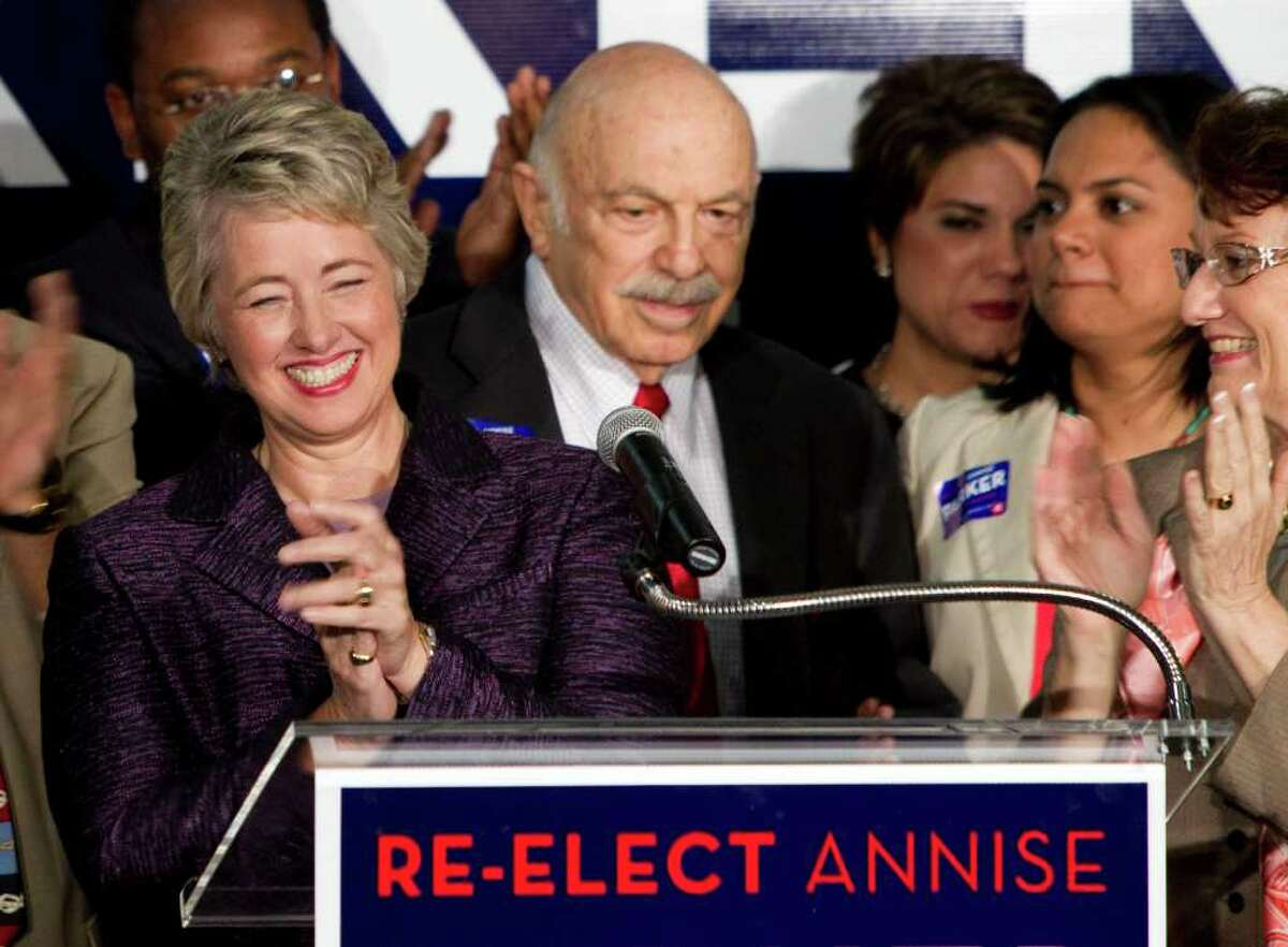 BRETT COOMER : CHRONICLE CELEBRATION: Mayor Annise Parker greets supporters, including Ed Wulfe, right, at a victory party at Minute Maid Park.