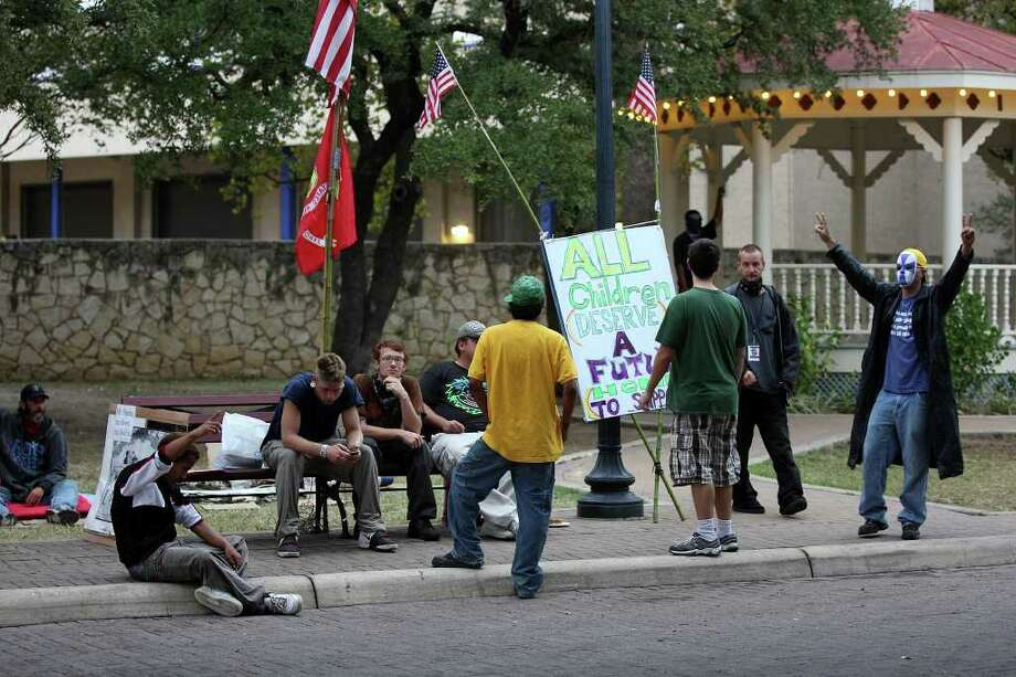 METRO -- Members of Occupy San Antonio camp out at HemisFair Park, Tuesday, Nov. 8, 2011. The group has been at the site since early October. JERRY LARA/glara@express-news.net Photo: JERRY LARA, San Antonio Express-News / SAN ANTONIO EXPRESS-NEWS
