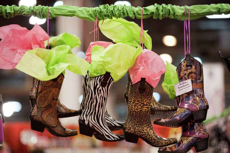 Rainboots for sale at the 31st annual Nutcracker Market November 12, 2011 at Reliant Center. Featured at this year's market are over 323 national and international merchants selling home décor, gourmet food, garden, clothing, sporting gifts, novelties, accessories and more. Photo: Eric Kayne, For The Chronicle / © 2011 Eric Kayne