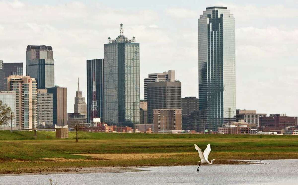 An egret takes off earlier this month from nearly dry Trammell Crow Lake at Trinity Park in the shadow of the downtown Dallas skyline.
