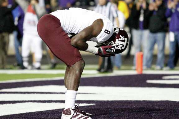Texas A&M wide receiver Jeff Fuller (8) reacts after missing a pass from quarterback Ryan Tannehill pass during a two-point conversion attempt in the third overtime against Kansas State on Saturday, November 12, 2011, at Bill Snyder Family Stadium in Manhattan, Kansas. K-State won, 53-50, in four overtime periods. (Bo Rader/Wichita Eagle/MCT)