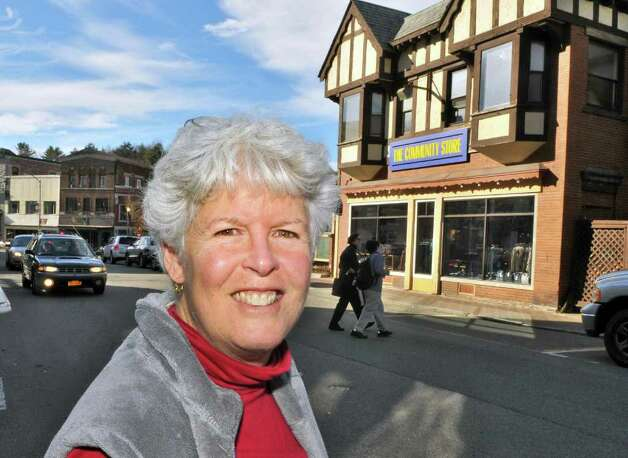Board president of The Community Store, Melinda Little, outside the store on Main Street in Saranac Lake Wednesday Nov. 9, 2011.   (John Carl D'Annibale / Times Union) Photo: John Carl D'Annibale / 00015320A