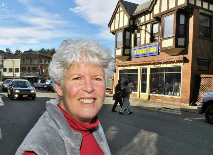 Board president of The Community Store, Melinda Little, outside the store on Main Street in Saranac Lake Wednesday Nov. 9, 2011. (John Carl D'Annibale / Times Union)