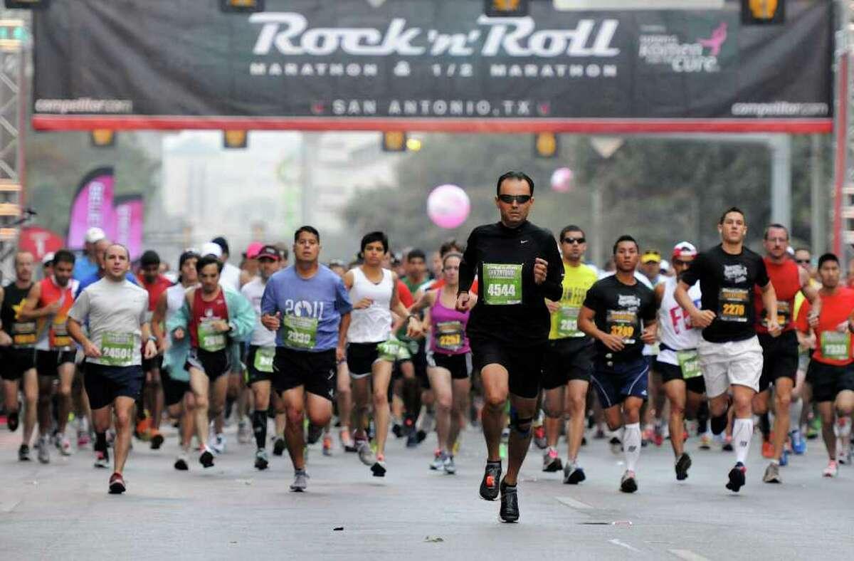 Participants at the start of the 2011 San Antonio Rock 'n' Roll Marathon and Half Marathon in San Antonio, Texas on November 13, 2011. John Albright / Special to the Express-News.