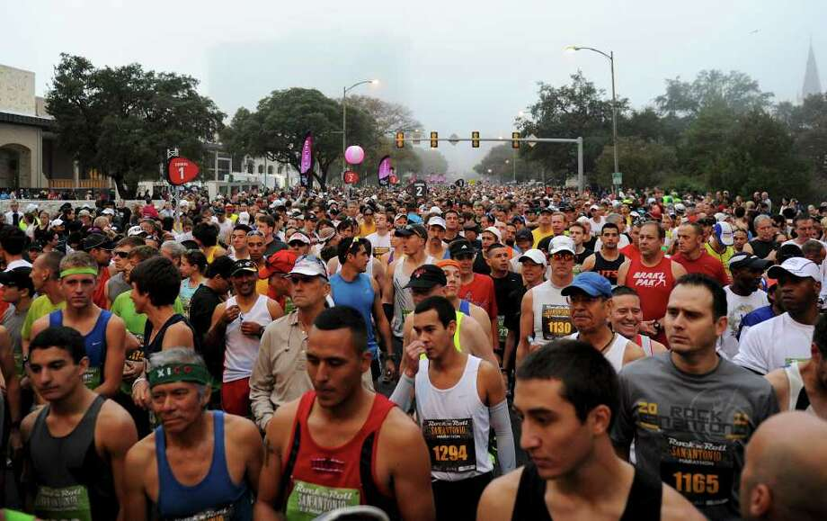 Participants at the start of the 2011 San Antonio Rock 'n' Roll Marathon and Half Marathon in San Antonio, Texas on November 13, 2011. John Albright / Special to the Express-News. Photo: John Albright
