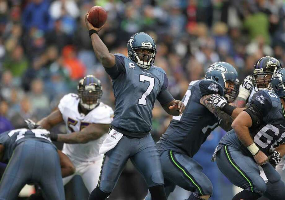 SEATTLE - NOVEMBER 13:  Quarterback Tarvaris Jackson #7 of the Seattle Seahawks passes against the Baltimore Ravens at CenturyLink Field on November 13, 2011 in Seattle, Washington. The Seahawks defeated the Ravens 22-17. Photo: Otto Greule Jr, Getty Images / 2011 Getty Images