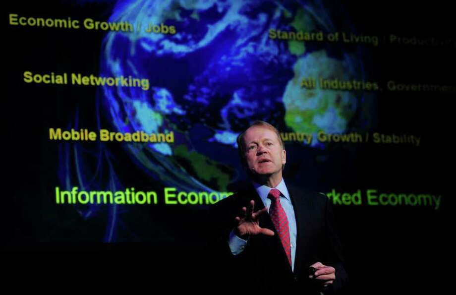 """MANU FERNANDEZ : ASSOCIATED PRESS FILE XXXXX: In this Feb. 16, 2011 file photo, Cisco Chairman & CEO John Chambers speaks during a conference at the Mobile World congress in Barcelona, Spain. """"Europe, we think, is going to be a challenge for us for this next quarter as it probably will be for others,"""" Chambers told analysts Wednesday, Nov. 9, 2011. (AP Photo/Manu Fernandez, File) Photo: MANU FERNANDEZ / AP2011"""