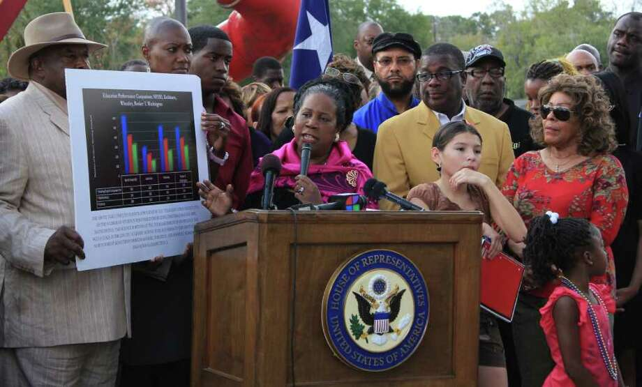 U.S. Rep. Sheila Jackson Lee speaks against the closing of the North Forest school district at Shadydale Elementary School in northeast Houston on Sunday. Photo: Hallie Jordan / © 2011 Houston Chronicle