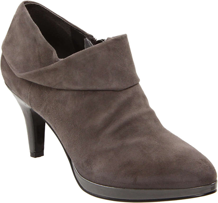 JUSTBECUZ Leather Ankle Boot, $90, by BANDOLINO bandolino.com Grey (shown), Black Leather (Photo courtesy of Amazon.com)