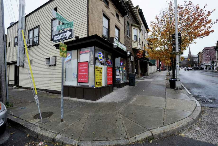 The intersection of Trinity Place and Madison Avenue in Albany, N.Y. November 14, 2011, where a shooting took place last Saturday.  (Skip Dickstein/Times Union) Photo: Skip Dickstein