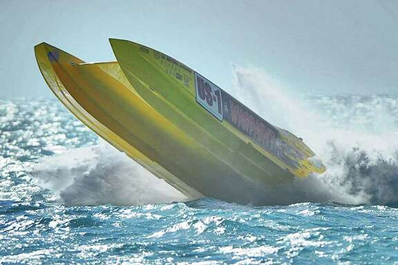 In this photo provided by Jim Winters, Warpaint, the 38-foot boat piloted by Robert Vesper of Somers Point, N.J. and Danny Crank of Hammonton,, N.J. goes airborne after slamming into a wave during the Key West World Championship in Key West, Fla. Sunday, Nov. 13, 2011. Vesper was released from the hospital a few hours later with cuts and abrasions, according to Warpaint crew chief Dave McIntyre, but Crank was transported to Miami's Jackson Memorial Hospital by helicopter as a precaution to examine a head injury. (AP Photo/Jim Winters) MANDTATORY CREDIT, NO MAGS
