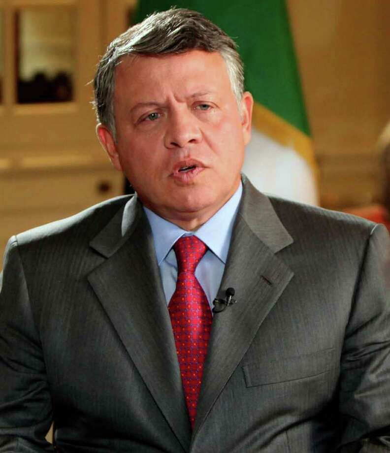 Jordan's King Abdullah is seen in an interview with the BBC in London, Monday, Nov. 14, 2011. King Abdullah has told the BBC that Syrian President Bashar Assad should step down, becoming the first Arab ruler to make such a call.  (AP Photo / Yoursef Allan, Jordanian Royal Palace) EDITORIAL USE ONLY Photo: Yousef Allan / Jordanian Royal Palace