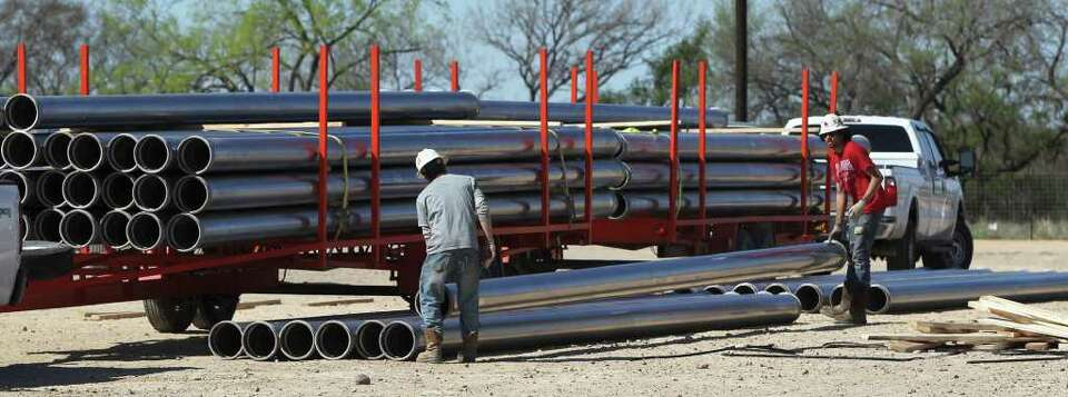 Pipe yards like Stallion Oild Field Services in Tilden, Texas are seen in the Eagle Ford shale forma