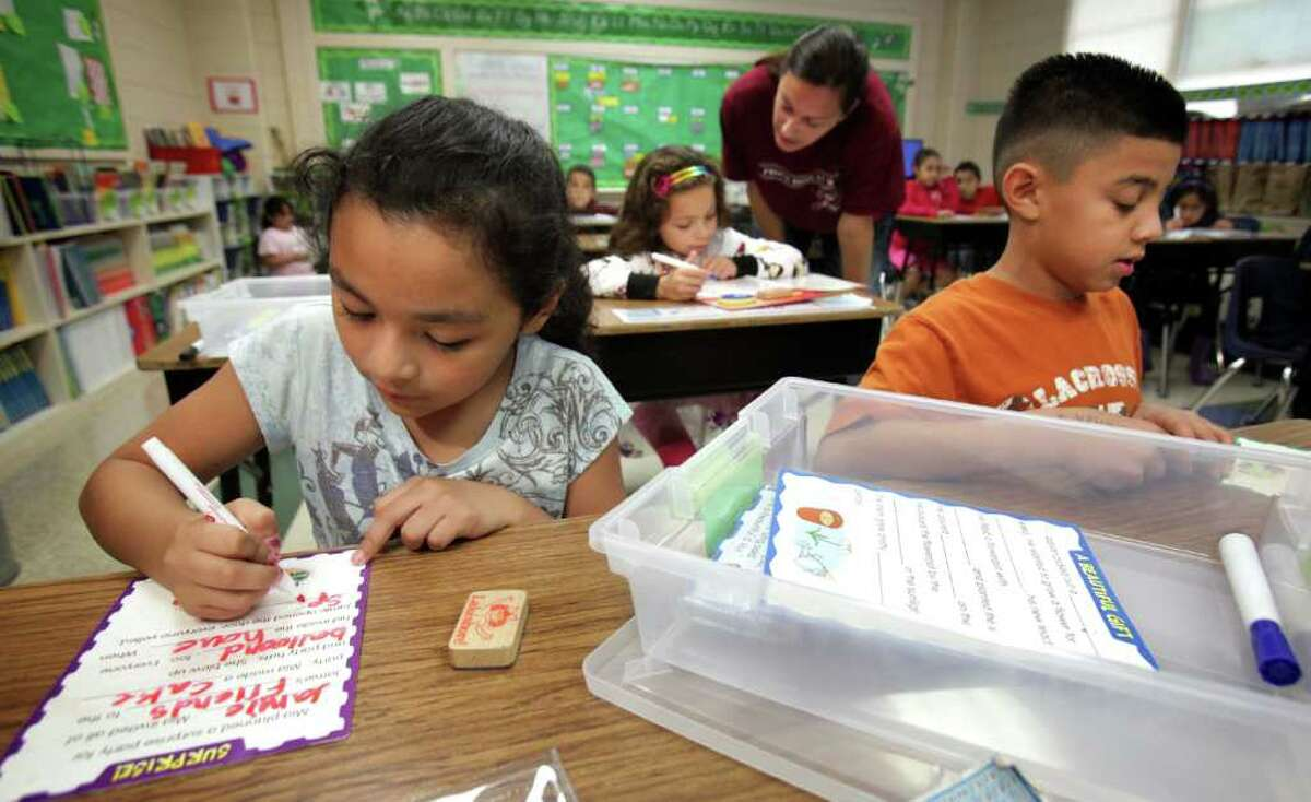 Dellview Elementary second-graders Sophia Nuno (left)and Jay Isaac Cantu uses material that their teacher bought from received funds from nonprofit website.