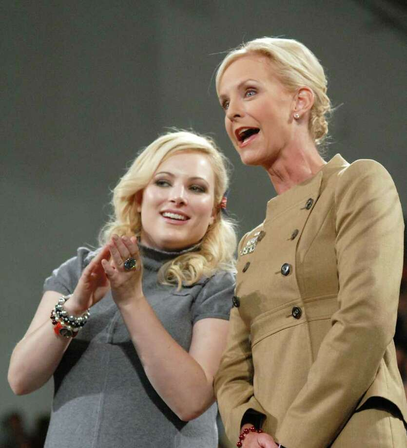Cindy McCain and her daughter Meghan McCain stand on stage during a campaign stop on the campus of Lehigh University October 8, 2008 in Bethlehem, Pennsylvania.  Photo: William Thomas Cain / Getty Images North America