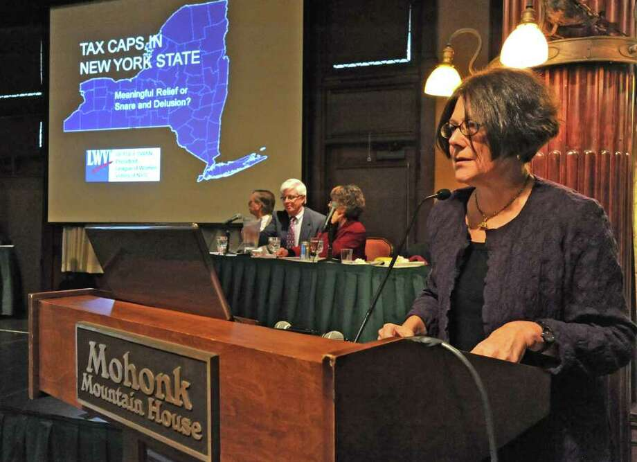 Betsy Swam, League of Women Voters of NYS, speaks at a meeting involving people who oppose the new tax cap at the Mohonk Mountain House in New Paltz, N.Y. Monday, Nov. 14, 2011.(Lori Van Buren / Times Union) Photo: Lori Van Buren