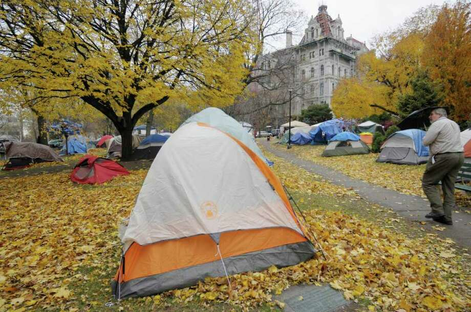 Tents fill the area at the Occupy Albany encampment in Academy Park  on Monday, Nov. 14, 2011 in Albany.  (Paul Buckowski / Times Union) Photo: Paul Buckowski