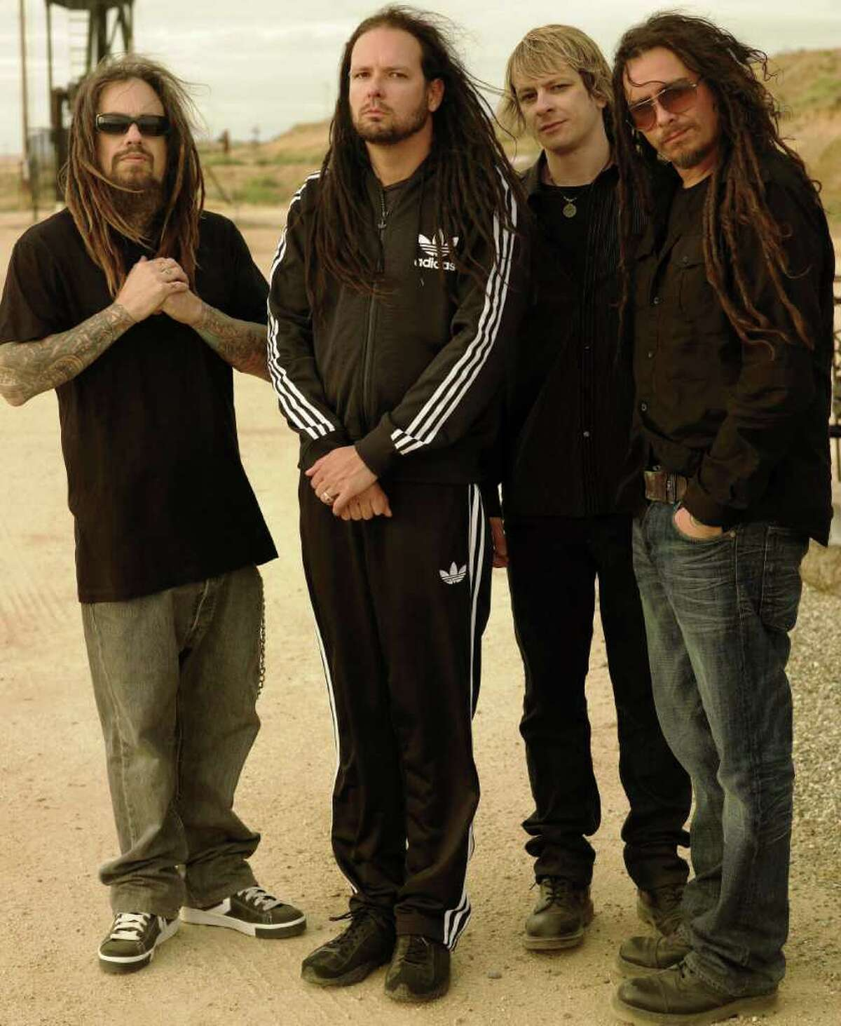 Korn (from left) is Fieldy, Jonathan Davis, Ray Luzier and Munky.
