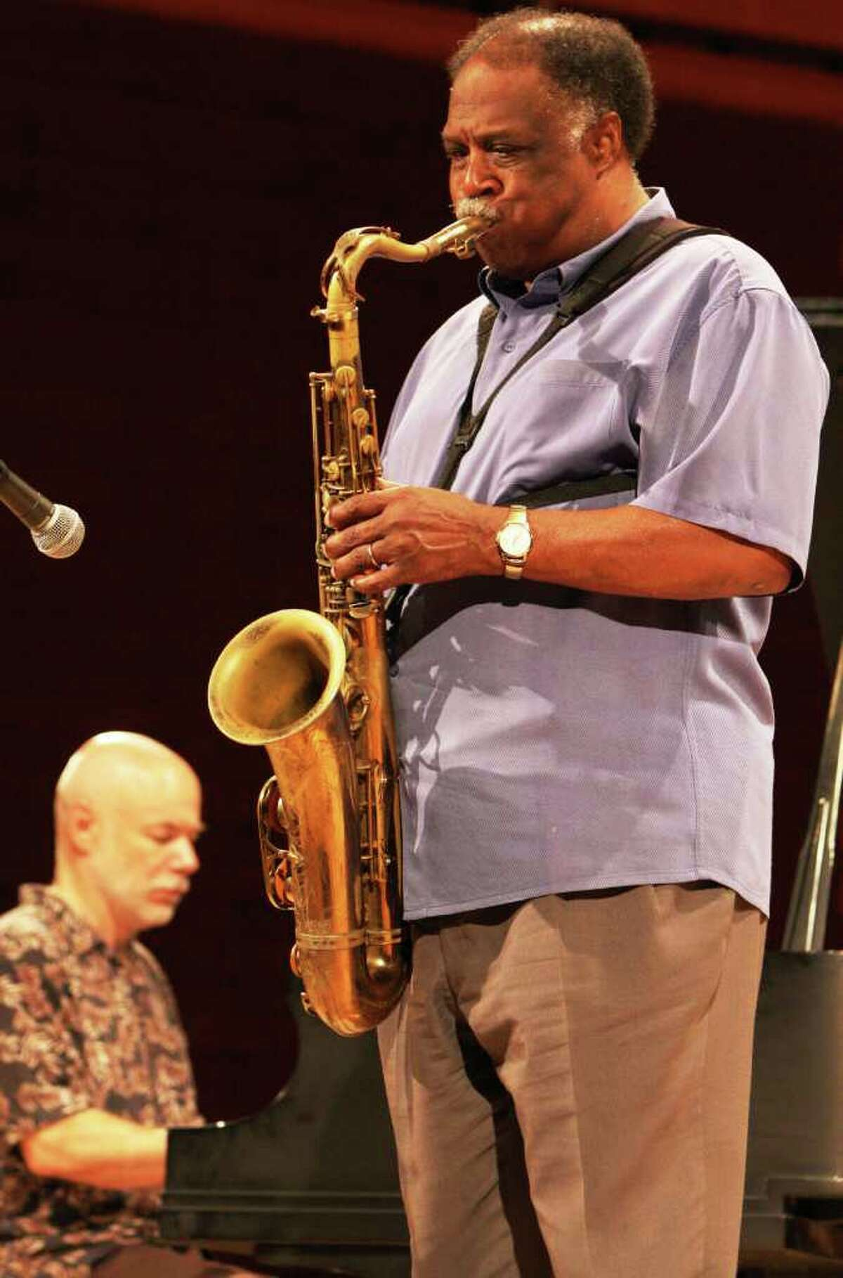 Sax player Houston Person and pianist Larry Ham perform at UTSA Monday.