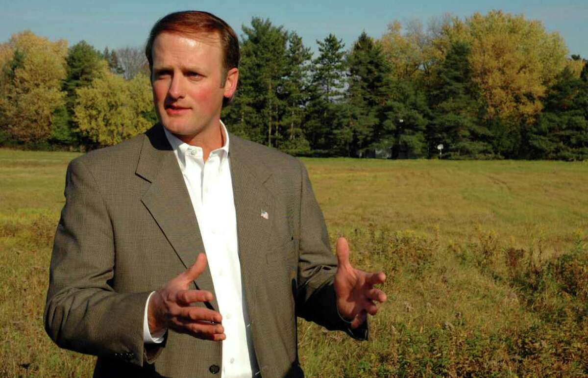 Clifton Park Supervisor Phil Barrett stands at the site of newly acquired open space along Rt. 146 in Rexford on Nov. 3, 2005.