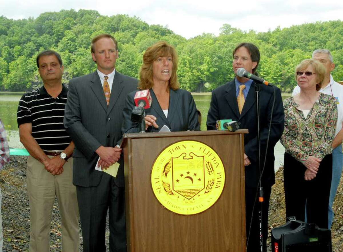 Lynda Walowit, far right, stands with, from left, former town councilman Jim Romano, Supervisor Phil Barrett, former director of New York State Canal Corporation Carmella Mantello and former town councilman Scott Hughes at the new canoe launch along the Mohawk River in 2009 in Clifton Park.