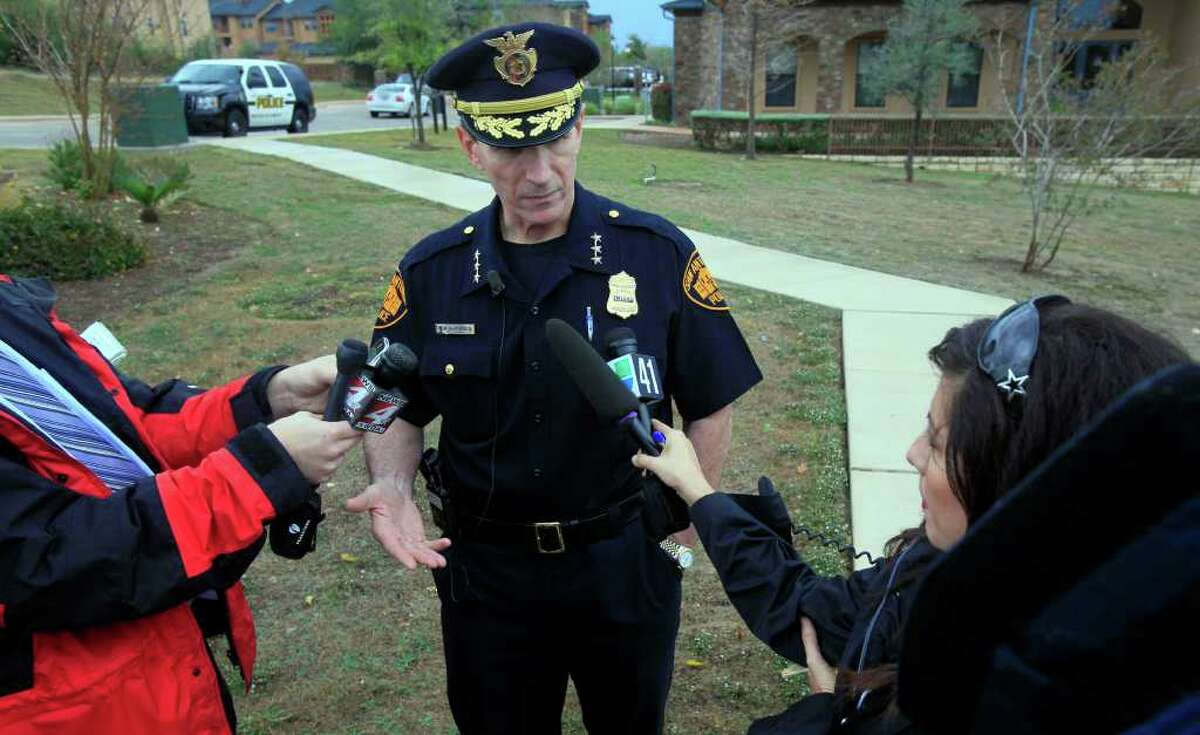 San Antonio Police Chief William McManus speaks with reporters Tuesday November 15, 2011 at the Hacienda del Sol Luxury Apartment Homes at 6710 Babcock where a man shot to death another man with an AK-47 rifle. A 20-year-old man is in custody for the shooting. JOHN DAVENPORT/jdavenport@express-news.net