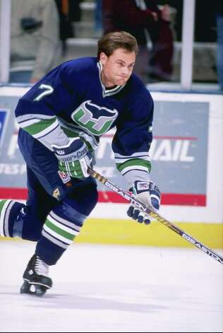 13 Feb 1997:  Defenseman Curtis Leschyshyn of the Hartford Whalers moves down the ice during a game against the New Jersey Devils at the Continental Airlines Arena in East Rutherford, New Jersey.  The Devils won the game, 4-0. Mandatory Credit: Al Bello Photo: File Photo / Stamford Advocate File Photo