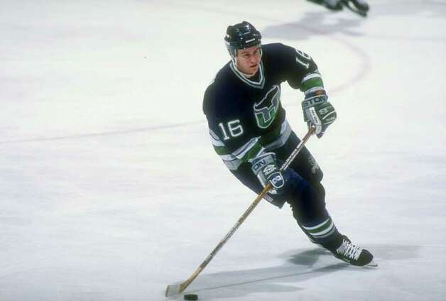 13 Feb 1997:  Rightwinger Nelson Emerson of the Hartford Whalers moves down the ice during a game against the New Jersey Devils at the Continental Airlines Arena in East Rutherford, New Jersey.  The Devils won the game, 4-0. Mandatory Credit: Al Bello  /A Photo: File Photo / Stamford Advocate File Photo