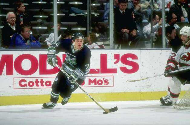 13 Feb 1997:  Leftwinger Sami Kapanen of the Hartford Whalers moves down the ice during a game against the New Jersey Devils at the Continental Airlines Arena in East Rutherford, New Jersey.  The Devils won the game, 4-0. Mandatory Credit: Al Bello  /Alls Photo: File Photo / Stamford Advocate File Photo
