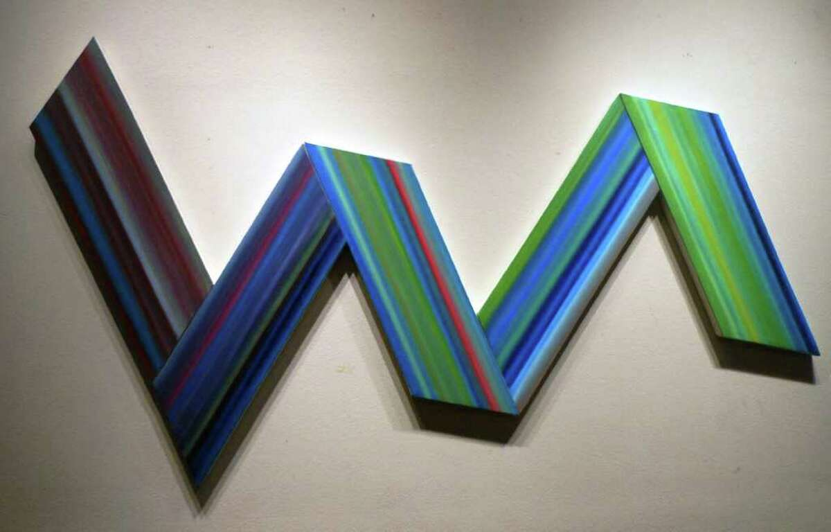 Louis Vega Trevino's EKG demonstrates the San Antonio artist's interest in color, geometry and architecture but also was inspired by a recent heart problem.