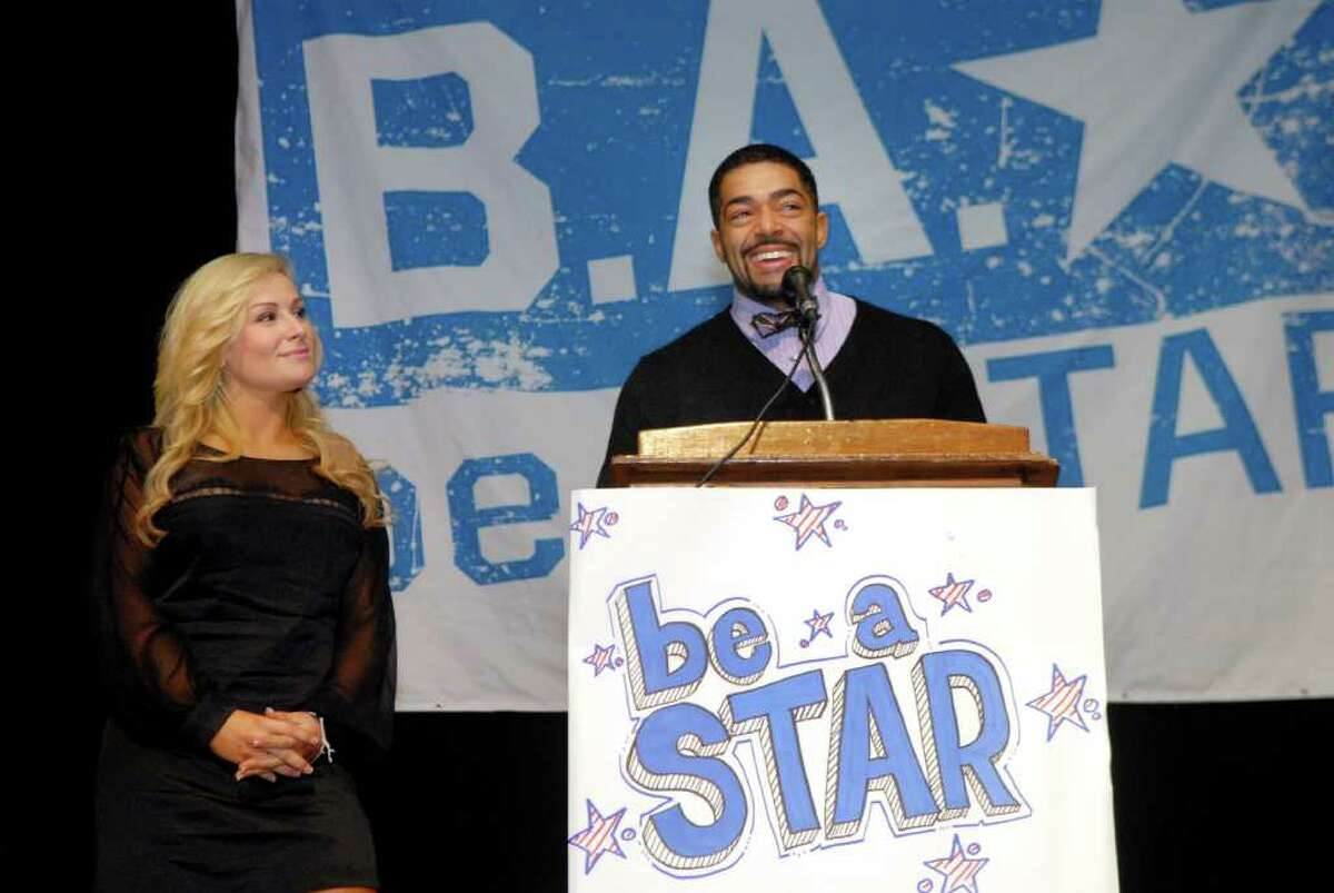 WWE Superstar David Otunga and WWE Diva Natalya address the student body of Turn of River Middle School in Stamford, Conn. on Tuesday November 15, 2011 talking about bullying.