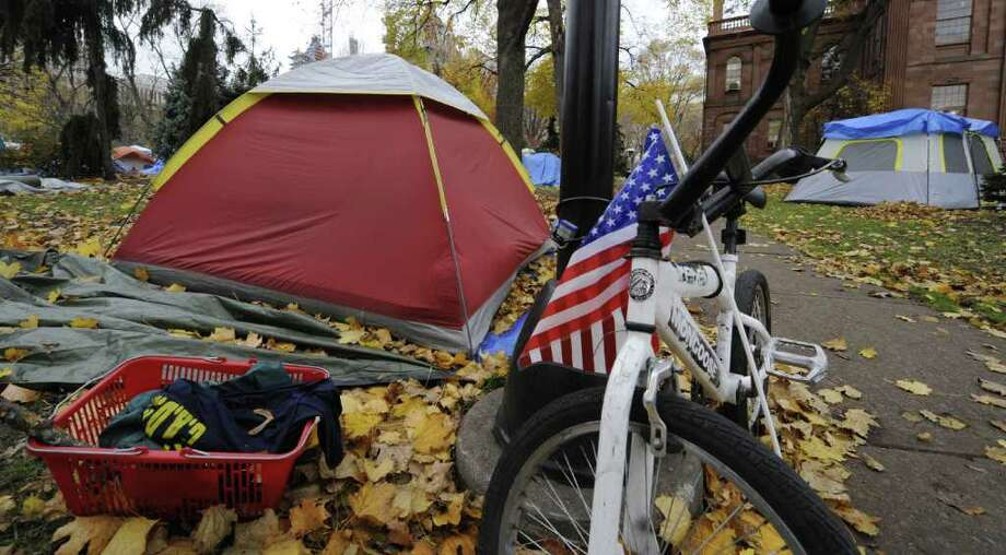 Occupy Albany continues in Academy Park November 15, 2011.  (Skip Dickstein/Times Union) Photo: Skip Dickstein / 00015424A
