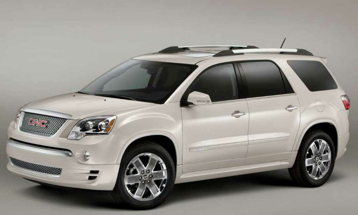 The Denali model is the fanciest -- and priciest -- model in the GMC Acadia lineup. Special styling touches include the monocolor exterior and 20-inch wheels. COURTESY OF GENERAL MOTORS CO.