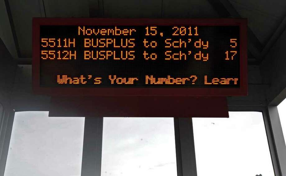 CDTA unveils new BusPlus technology on Central Ave. in Colonie, N.Y. Tuesday, Nov. 15, 2011. This is the new real time sign posted in some of the current BusPlus bus stops. (Lori Van Buren / Times Union) Photo: Lori Van Buren