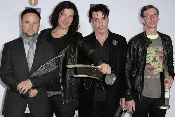 The German band Rammstein poses with its awards during for the Echo award 2011 at Palais am Funkturm on March 24, 2011 in Berlin, Germany.