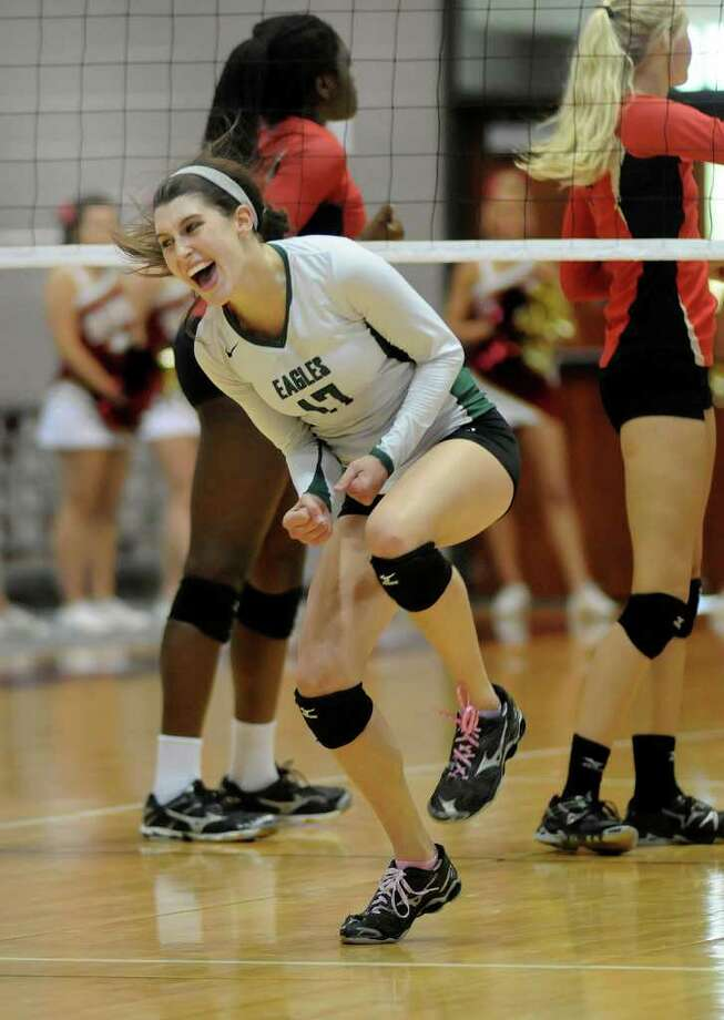 JERRY BAKER: FOR THE CHRONICLE STATE TOURNEY SMILE: Cy Falls senior libero Brittnee Dawley and the Eagle girls are hoping to bring home the UIL Class 5A state championship this season, which would be the school's second. Photo: Jerry Baker