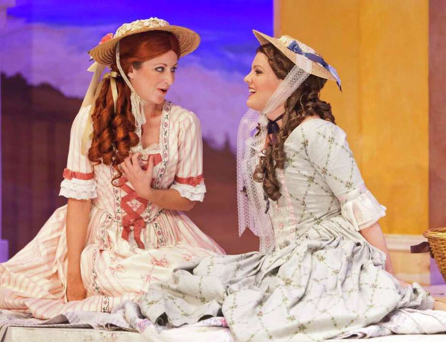 Cosi Fan Tutte, starring Ann Souder as Dorabella, left, and Sarah Beckham as Fiordiligi, is presented by Opera in the Heights. Photo: Craig Hartley / Copyright: Craig H. Hartley