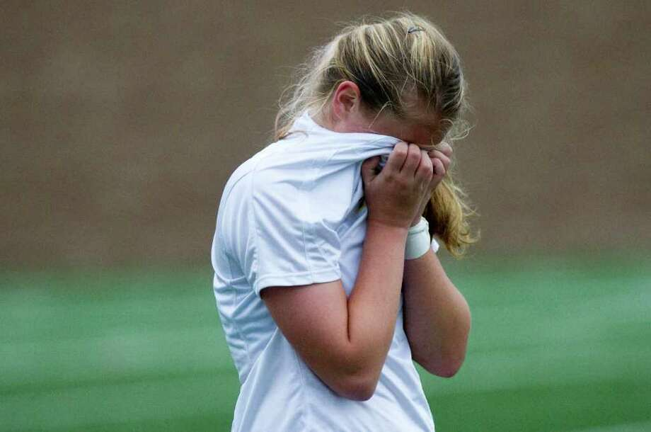 Westhill's Margo Teeters reacts to the Vikings' loss as Westhill High School hosts Staples in the Class LL girls soccer quarterfinals in Stamford, Conn., November 15, 2011. Staples won, 2-1. Photo: Keelin Daly / Stamford Advocate