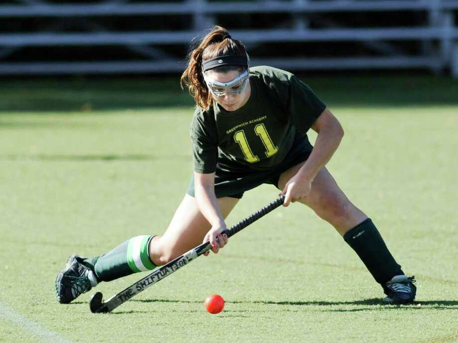 Pam Schulman of GA during field hockey match between Convent of the Sacred Heart and Greenwich Academy at Greenwich Academy, Saturday, Oct. 22, 2011.  GA won the match over CSH, 6-1. GA Coach Angela Tammaro got her 700th career win. Photo: Bob Luckey / Greenwich Time