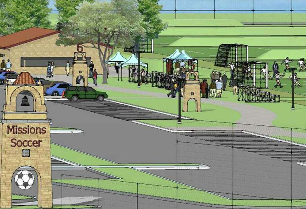 This courtesy rendering provided by the Bexar County Community Venues Program shows the facilities that will be included at the Mission City Youth Soccer Complex. Groundbreaking will be in January for the $5 million project, with eight soccer fields, concessions and other facilities.