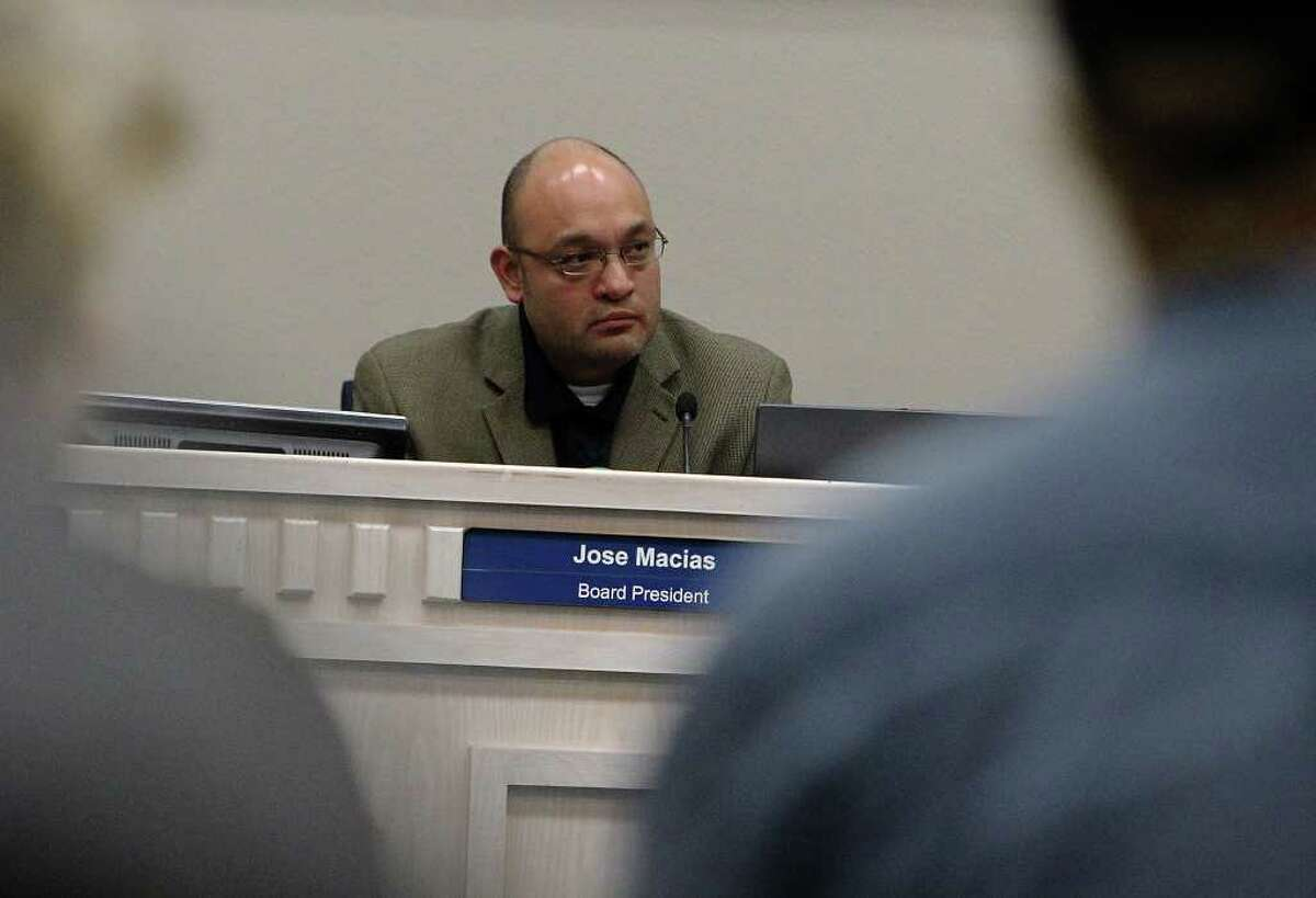 Judson Independent School District board president Jose Macias who is amid a center of allegations and faces censure oversees a special session meeting on Tuesday, Nov. 15, 2011.