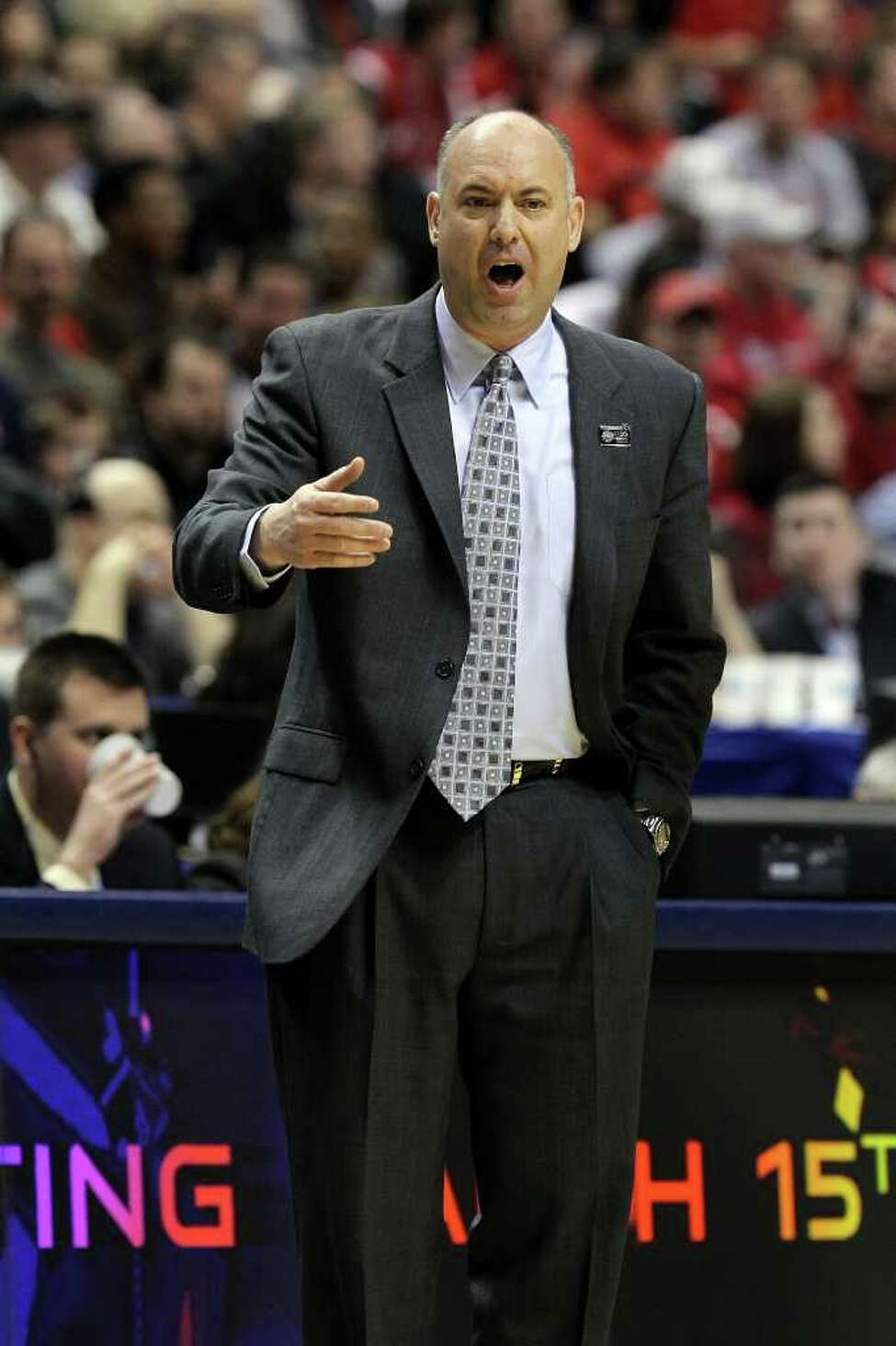 INDIANAPOLIS, IN - MARCH 13: Head coach Ed DeChellis of the Penn State Nittany Lions coaches against the Ohio State Buckeyes during the championship game of the 2011 Big Ten Men's Basketball Tournament at Conseco Fieldhouse on March 13, 2011 in Indianapolis, Indiana. Ohio State won 71-60. (Photo by Andy Lyons/Getty Images) *** Local Caption *** Ed DeChellis