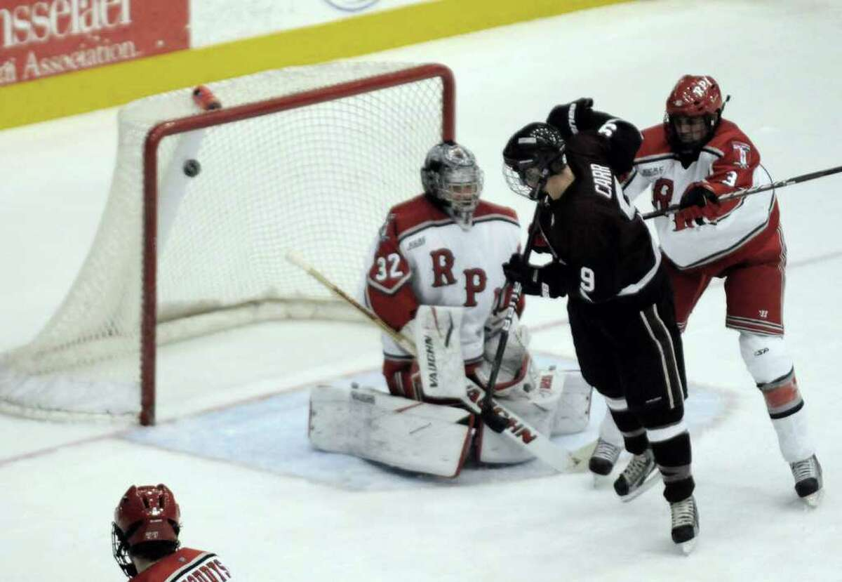 Union's Daniel Carr scores on RPI goalie Bryce Merriam during their college hockey game at the Houston Field House Troy, NY Tuesday, Nov.15, 2011.( Michael P. Farrell/Times Union)