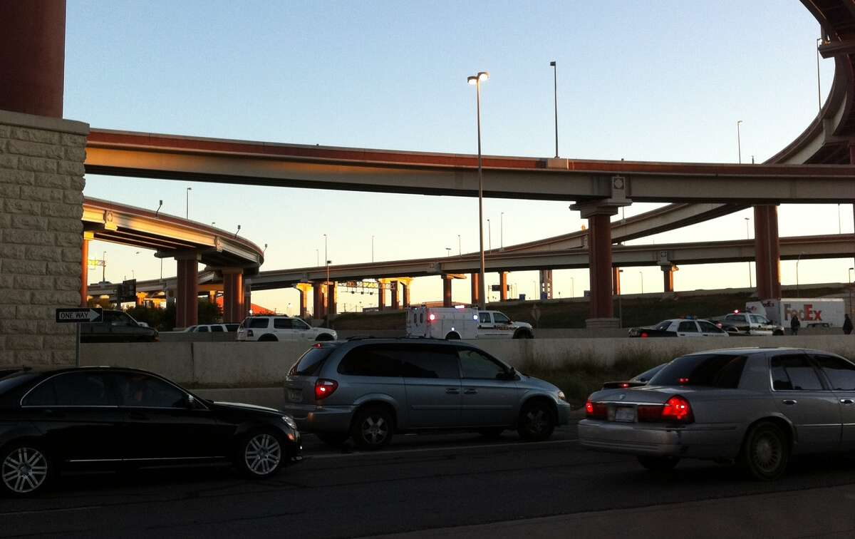 Traffic on Loop 410 was snarled after police closed lanes Wednesday.