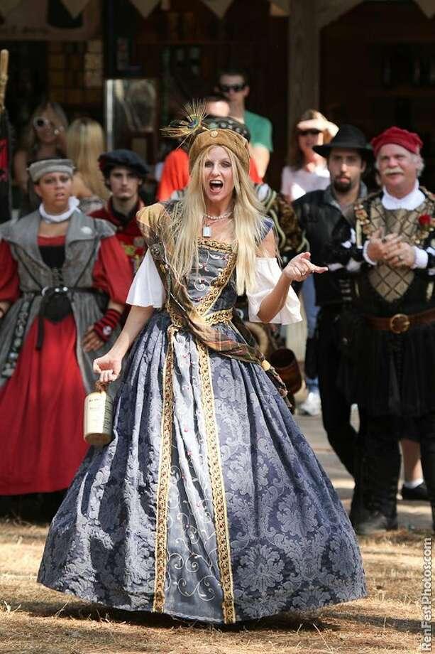 Jennifer Nuernberg performs at the Texas Renaissance festival as Queen Margaret aka Queen Peg, the drunkard. Nuernberg has been performing at the Texas Renaisance Festival for 18 years. Photo: Handout