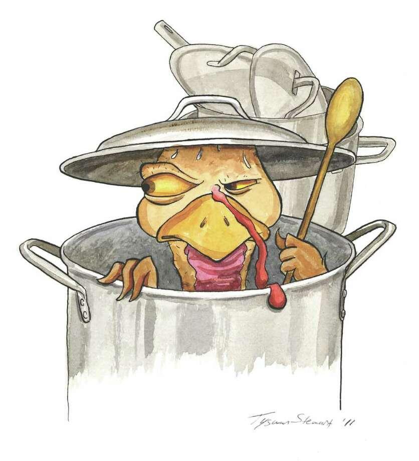 Turkey hiding from cook. / Tyswan Stewart